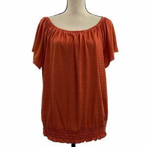 Style & Co Elastic Waist Short Sleeve Blouse XL